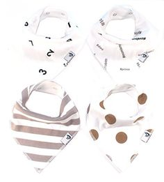Organic Baby Bandana Drool Bibs for Teething and Drooling 4Pack Gift Set Hashtags by MEMEENO >>> To view further for this item, visit the image link.