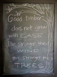 Good Timber  by Douglas Malloch  The tree that never had to fight  For sun and sky and air and light,  But stood out in the open plain  And ...