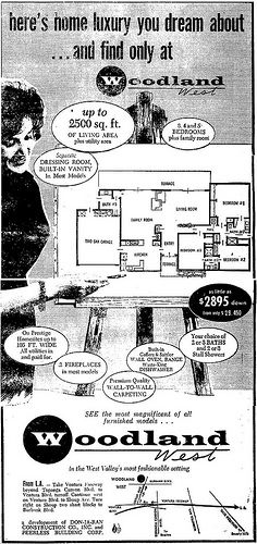 Luxury, glamour and a carefree lifestyle were but a few of the things offered at Woodland West, circa 1961 in the LA Times. Vintage House Plans, Modern House Plans, Keller Williams, Woodland Hills California, Built In Vanity, Mid Century Exterior, Real Estate Ads, West Home, San Fernando Valley
