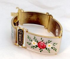 Damascene Mother of Pearl Flower Link Bracelet by bitzofglitz4u, $65.00