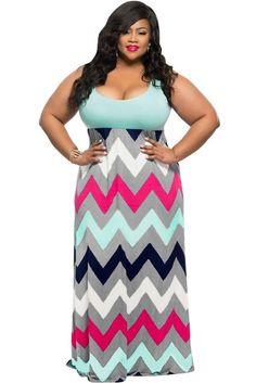 Plus Size Light Blue Top Multicolor Zigzag Maxi Dress modeshe.com
