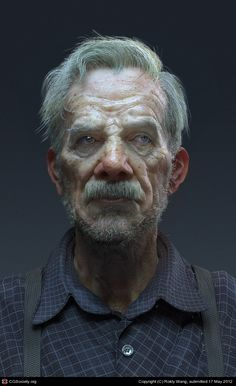 an elderly curmudgeon. Modeled in Zbrush. Texturing in Zbrush and Photoshop. Retopologized in Rendered in Maya using mental ray, and the hair is using Maya hair system. By Rokly Wang. Portrait Sculpture, Photo Portrait, Portrait Art, Portrait Photography, Digital Portrait, Digital Art, Character Modeling, Character Portraits, 3d Character