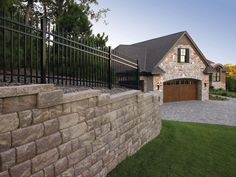 Anchor Diamond Pro Stone Cut retaining wall systems have been trusted by contractors and homeowners for decades, offering durability with rough-hewn beauty Diy Retaining Wall, Retaining Wall Design, Stone Landscaping, Landscaping Retaining Walls, Landscaping Ideas, Long Driveways, Concrete Blocks, Stone Cuts, Curb Appeal