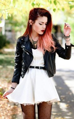 Lua of Le Happy in the Moto Zip Crop Leather Jacket - Wear it with out punk rocker dresses!