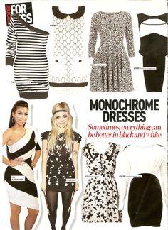Monochrome Dresses in More! Magazine featuring Pixie Lott & Kim Kardashian