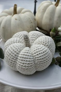 crochet pumpkin, it may be after thanksgiving but I just got my white crocheted pumpkin done! Looks so nice on my table scape with china that is pink and lavender flowers on a white background! Crochet Pumpkin, Crochet Fall, Halloween Crochet, Holiday Crochet, Crochet Home, Crochet Crafts, Yarn Crafts, Knit Crochet, Yarn Projects
