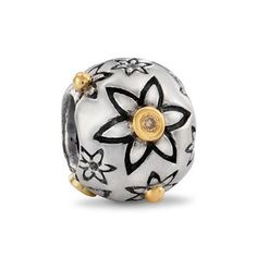 Pandora Charms - Pandora Silver 14ct Gold and Diamond Flower Power Charm 790399DN