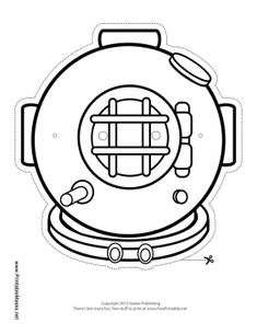 This color-in diving mask can be attached with string for all your diving adventures. Color the round diving helmet in your favorite shade for a custom diving suit. Free to download and print