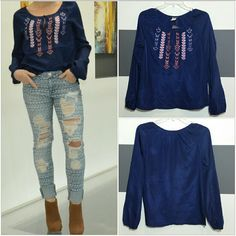 "🆕 Bohemian blouse NWOT Beautiful bohemian print navy blue blouse. On the front is an embroidered bohemian design with multicolor trying.   Brand new  size small  100% polyester Length approx 24"" Bust approx 18.5"" Loose fit styles Semi bishop sleeve/buttons at end of sleeve Tops Blouses"