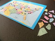 US map puzzle.  I've been looking for a fun (and inexpensive) way to start teaching my little man the states.  I think I could do this!