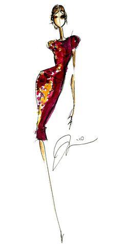 quenalbertini: Fashion Sketch inspired by Jason Wu Fashion Illustration Sketches, Illustration Mode, Fashion Sketchbook, Fashion Design Sketches, Paper Fashion, Fashion Art, Fashion Brands, Moda Fashion, I Love Fashion