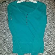 Long sleeve thermal top . Teal , worn about once . Tops Tees - Long Sleeve