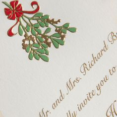 Engraved Mistletoe Sprig Holiday Invitation: Understatedly elegant, the round corners and mistletoe motif on this holiday invitation make the perfect impression for the coziest of fetes filled with family, friends and the tastiest of confections.