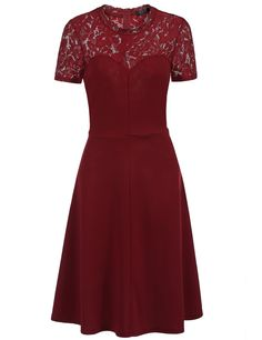 Short Sleeve Solid Lace Patchwork A-Line Dress