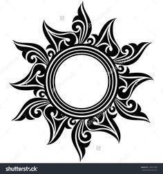 Similar Images, Stock Photos & Vectors of black abstract sun tattoo. Moon Sun Tattoo, Sun Tattoos, Body Art Tattoos, Tribal Tattoos, Tattoos For Guys, Sleeve Tattoos, Tatoos, Silhouette Tattoos, Sun Silhouette