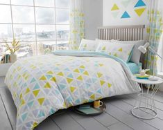 Geo Triangle Teal Duvet Quilt Cover Bedding Set – Linen and Bedding Teal Bedding Sets, King Bedding Sets, Black Bedding, Duvet Sets, Duvet Cover Sets, King Comforter, Gold Bedding, Green Bedding, King Size Duvet Covers