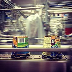 Jimmy Fallon's Late Night Snack rolling down the factory line at our Waterbury, Vermont factory. Next the pint heads to the spiral hardener, which at -40F degrees, further freezes the ice cream from soft & creamy to a frozen solid. Brrrrrrr.  #benandjerrysfactory