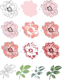 In style with our popular layering stamps, this set has a large 4-step Peony, and a few other supporting images some of which are multi-step and others simply outline image. Notice that the flower and the leaves can be stamped with or without the outline layer, and the outline image can be used independently if you prefer coloring or stamping as is.