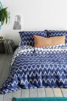 Indigo Chevron Duvet Cover--for the guest beds downstairs.