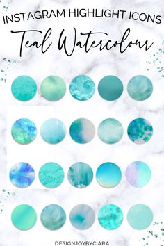 Teal Watercolor Instagram Highlight Covers | Social Media Icons | Instagram Story Icons | Covers For Instagram | Watercolor Design | Aqua Instagram | Instagram Highlights | Instagram Icons | Social Media Templates #instagramhighlights #watercolourinstagram #pastelinstagram #instagramicons #instagramcovers #highlightcovers #instagramtemplates #watercolorinstagram #brandbundle