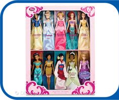 Disney Princess Dolls - I like that this set has all the princesses, and not just the main four or five that you usually see.