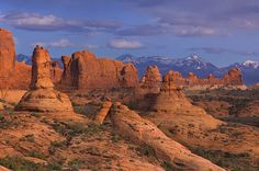 La Salt Mountains view from Garden of Eden. Arches National Park, Utah, USA