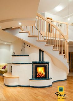 Staircase Stove, Rocket Stoves and Fireplaces House Design, Tiny House Cabin, Interior Design, House Interior, House, Rocket Stoves, Home, Interior, House Flooring