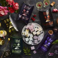 The Naked Marshmallow Co. Violet Gin, Vegan Food, Vegan Recipes, Gourmet Marshmallow, Vegan Shopping, Prosecco, Things To Buy, Naked, Vegane Rezepte