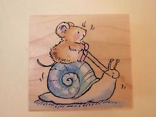 Penny Black GARDEN BUGGY Mouse Riding Snail Wood Mounted Rubber Stamp