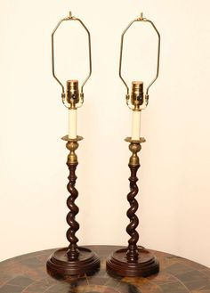 """$2100.00 19.5"""" to top of socket 5.75"""" wide Dealer in NYC Pair of Mid-19th Century English Barley Twist Candlesticks Converted to Lamps 