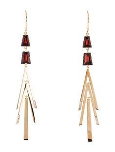 Catherine Malandrino Garnet & Diamond Geometric Drop Earrings