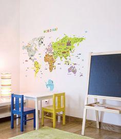 Illustrierte Welt Karte abnehmbar & Kinderzimmer Kunst von glassnam
