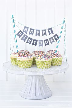 Birthday Inspiration: Mini Birthday Bunting. Source: Yellow Bliss Road. Free printable ~ this is very cute, must remember this for later in the year! M x