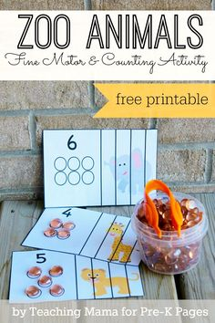 Zoo Animal Fine Motor + Counting Activity for learning and fun in preschool!