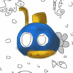 Blue submarine #cartoon #submarine #doodle #ocean