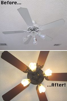 painted ceiling fan. I've got a really ugly gold one laying in the garage somewhere we need to do this to.