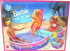 Barbie - Pool 'N Spa Mattel 1993 Playset Barbie Bath, Barbie 90s, Barbie And Ken, Barbie Dolls, Barbie Stuff, Barbie Celebrity, Barbie Furniture, Spa Furniture, Barbie Playsets