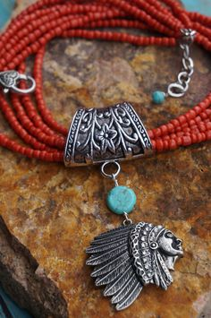 Native American Orange Coral and Turquoise
