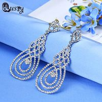 Trendy Crystal Long Dangle Earrings for Women Silver Plated Fashion Wedding Jewelry Water Drop Lady's Brincos EC