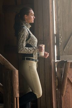 Kerrits Twist of Bit Riding Shirt and Frost Free Kneepatch Winter Riding Breeches