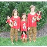 Red and Green Stripe Elf Pajama Set Matching for Child and American Girl or Bitty Baby Doll