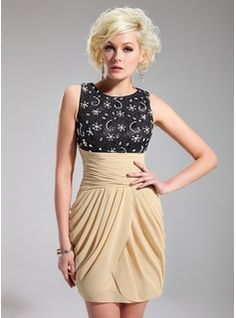Cocktail Dresses - $150.99 - Sheath Scoop Neck Short/Mini Chiffon Charmeuse Cocktail Dress With Ruffle Lace Beading Sequins  http://www.dressfirst.com/Sheath-Scoop-Neck-Short-Mini-Chiffon-Charmeuse-Cocktail-Dress-With-Ruffle-Lace-Beading-Sequins-016019711-g19711