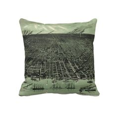 Vintage Pictorial Map of Detroit Michigan (1889) Throw Pillow from Zazzle.com $62.40
