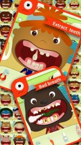 Now your child can play virtual dentist with the Tiny Dentist app.  They'll see what their teeth will look like if they don't take care of them.  The patients in the app need some major dental work and it's your child's job to fix their grills.