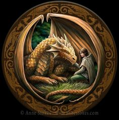 Art work by Anne Stokes. This new picture was an interesting design challenge to make a circular shape with the composition of the figures. Then to design the circular frame with dragon's round the edge, as I wanted to give this piece a story tale feel.
