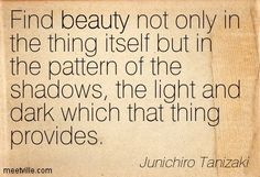 """We find beauty not in the thing itself but in the patterns of shadows, the light and the darkness that one thing against another creates."" - Jun'ichirō Tanizaki In'ei Raisan (In Praise of Shadows)"