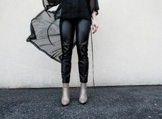 black sheer top outfit with ankle booties @zaraofficial