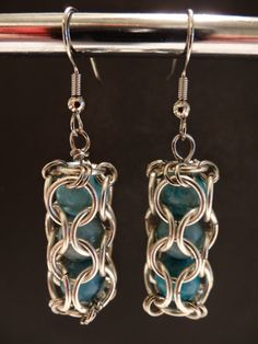 Caged Bead Chainmaille Earrings by MobiusCreations on Etsy, $12.00