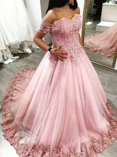 Pink Off the Shoulder Ball Gowns Prom Dress Birthday Dress  Evening Gowns