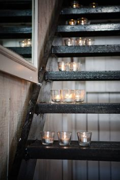 candles, in stairs.